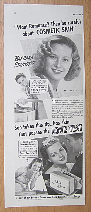 1939 Lux Toilet Soap With Barbara Stanwyck