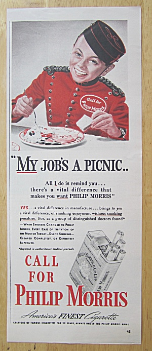 1940 Philip Morris Cigarettes With Bell Boy Eating
