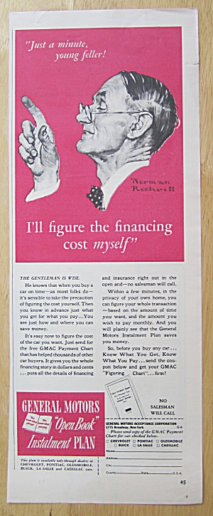 1940 General Motors Installment Plan W/norman Rockwell