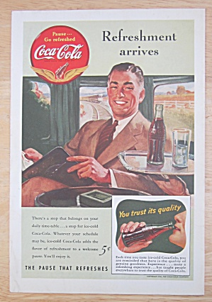 1941 Coca Cola W/man Sitting On A Train Enjoying A Coke