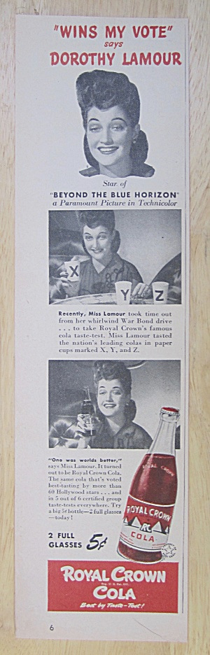 1942 Royal Crown Cola With Dorothy Lamour