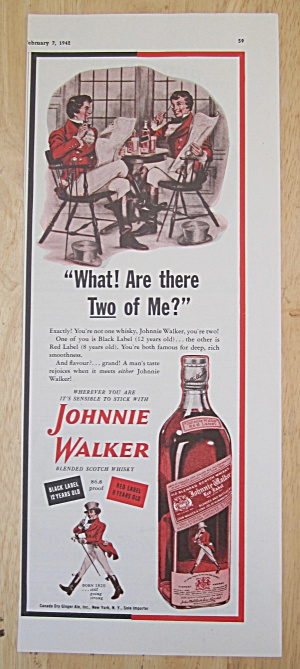 1942 Johnnie Walker Red Label Whiskey W/ Johnnie Walker