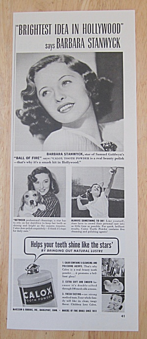 1942 Calox Tooth Powder With Barbara Stanwyck