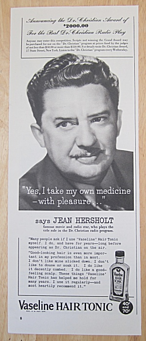 1942 Vaseline Hair Tonic With Jean Hersholt
