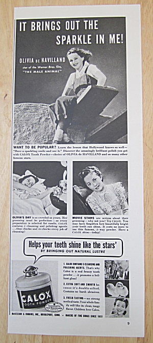 1942 Calox Tooth Powder With Olivia De Havilland