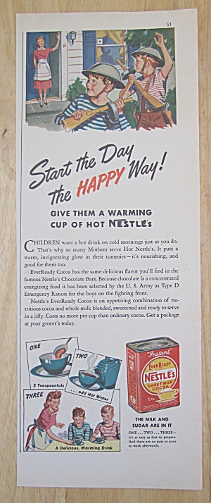 1942 Nestle's Sweet Milk Cocoa With Mom Waving To Boys