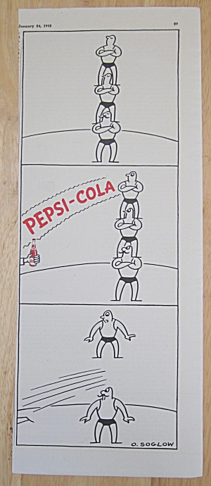 1942 Pepsi Cola (Pepsi) W/ Men Balancing On Each Other