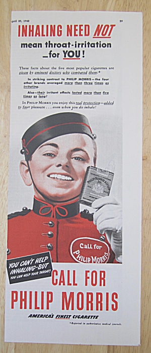 1942 Philip Morris Cigarettes W/ Philip Morris Bellboy