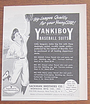 1951 Yankiboy Baseball Suits With Boy Catching Ball