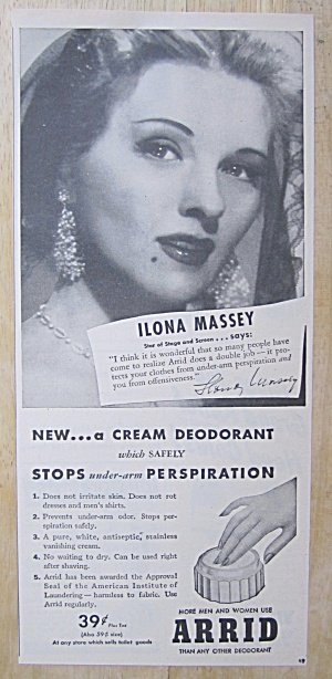 1945 Arrid Deodorant With Screen Star Ilona Massey