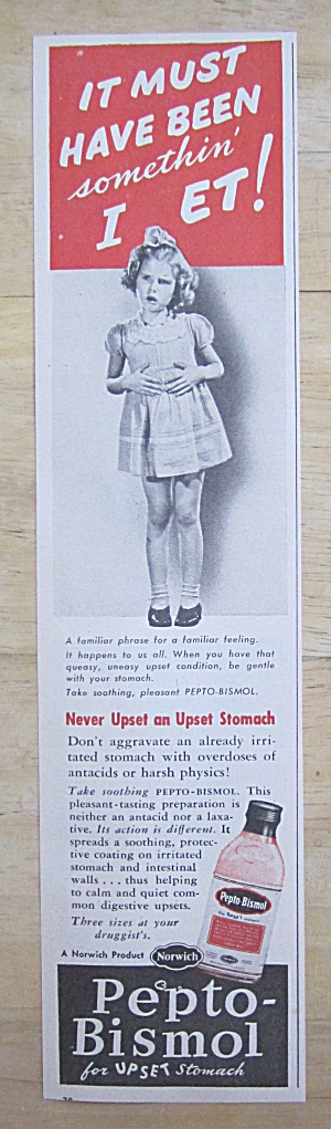 1946 Pepto Bismol With Little Girl With Upset Stomach