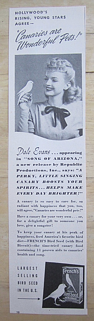 1946 French's Bird Seed With Dale Evans & Canary