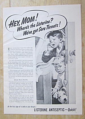1951 Listerine Antiseptic With Children & Sore Throats