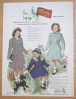1952 Bambury Fashions With Paris Inspired Fashions