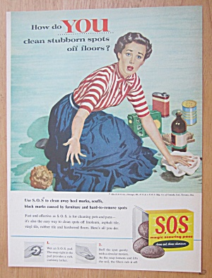 1955 S.o.s. Magic Scouring Pads W/ Woman Cleaning