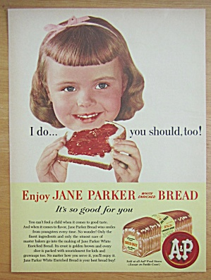 1956 Jane Parker White Bread With Girl Eating Bread