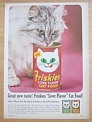 1965 Friskies Cat Food with Cat Eating From the Can (Image1)