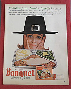 1964 Banquet Turkey Dinner W/ Woman In Pilgrim Hat