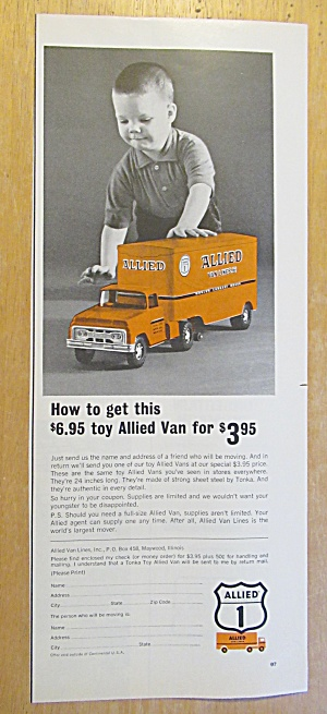 1965 Allied Van With Allied Van Toy Truck & Boy