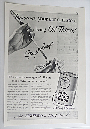 1936 Texaco Motor Oil With Dipstick From A Car