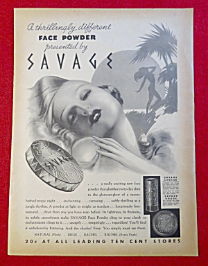 1934 Savage Face Powder with Lovely Woman  (Image1)
