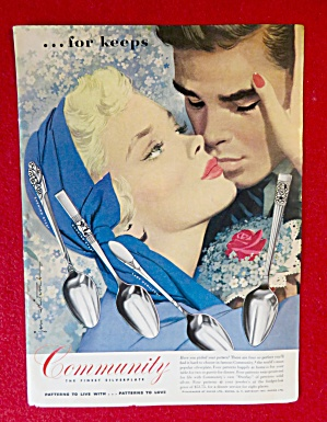 1951 Community Silverplate with Woman & Man Kissing (Image1)