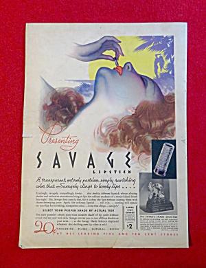 1934 Savage Lipstick with Woman Putting On Lipstick (Image1)