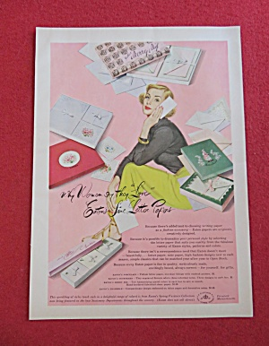 1951 Eatons Line Letter Paper with Woman & Letter  (Image1)