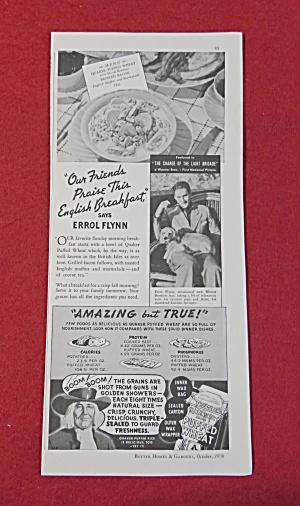 1936 Quaker Puffed Wheat with Errol Flynn  (Image1)