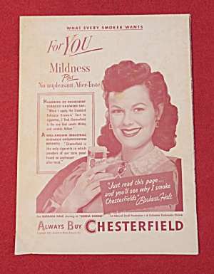 1951 Chesterfield Cigarettes with Barbara Hale  (Image1)