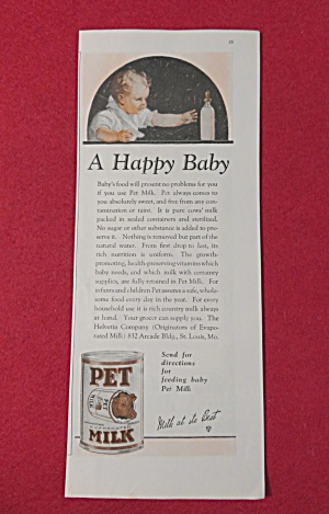 1923 Pet Milk with Baby Reaching For Their Bottle  (Image1)