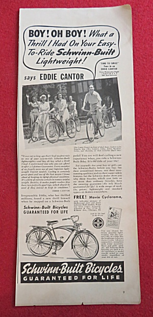 1941 Schwinn Bicycle with Television's Eddie Cantor (Image1)