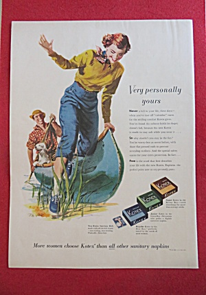 1951 Kotex Sanitary Napkins with Woman Swinging  (Image1)