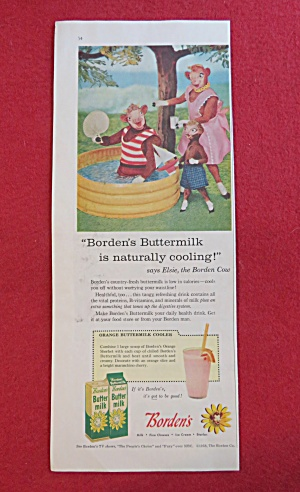 1958 Borden Buttermilk with Elsie & Family By The Pool (Image1)