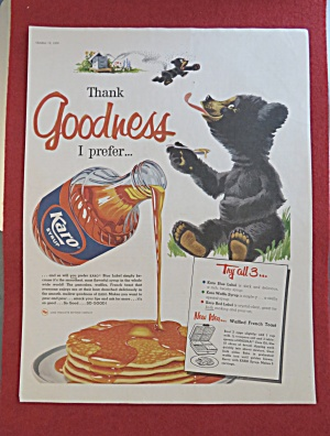 1958 Karo Syrup with Bear Licking A Spoonful Of Syrup (Image1)