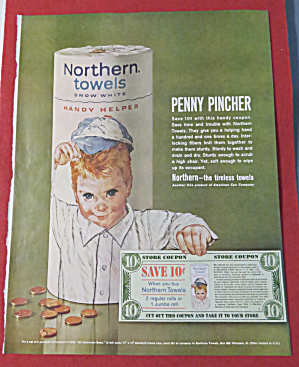 1962 Northern Towels with Boy Holding A Coupon  (Image1)