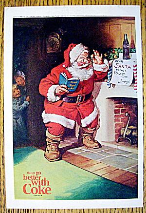 1963 Coca Cola (Coke) With Santa Claus Reading Note (Image1)