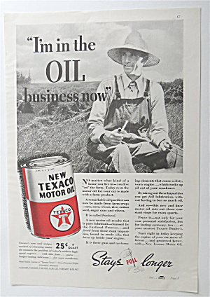 1937 Texaco Motor Oil With Man Sitting With A Pipe