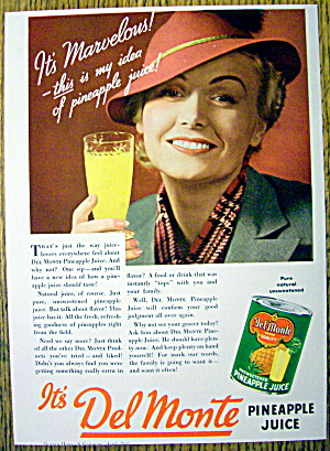 1936 Del Monte Pineapple Juice W/woman Holding Glass