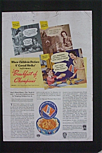 1937 Wheaties Cereal Ad With Joe Dimaggio