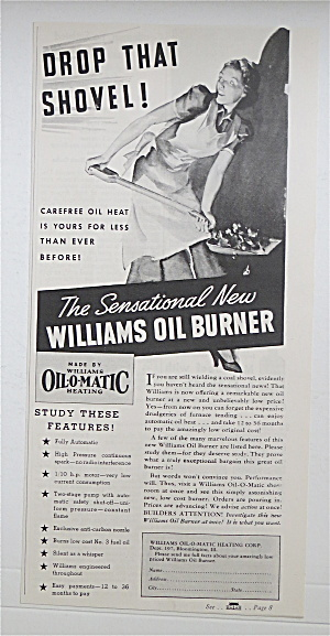 1937 Williams Oil-O-Matic Heating w/ Woman Stoking Fire (Image1)