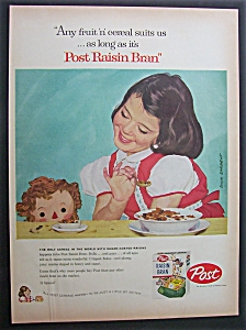 1958 Post Raisin Bran w/Girl & Her Doll By Dick Sargent (Image1)