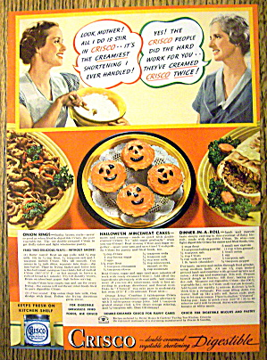 1936 Crisco Shortening With Halloween Mincemeat Cakes