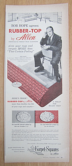 Vintage Ad: 1956 Rubber-top By Allen With Bob Hope