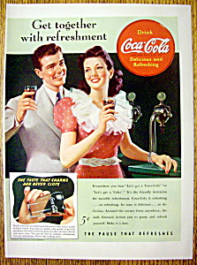 1941 Coca Cola (Coke) With Man & Woman By Counter