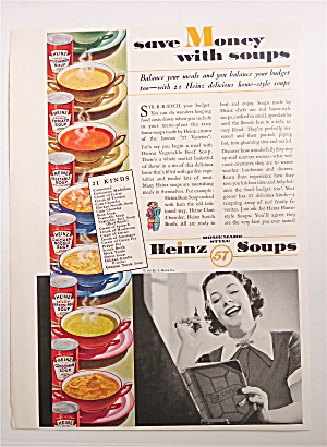 1936 Heinz Soups With Woman Balancing Her Budget