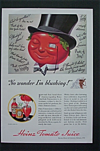 1936 Heinz Tomato Juice with Tomato Wearing Top Hat  (Image1)