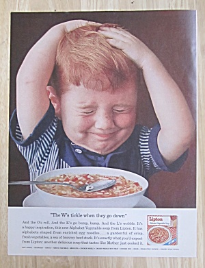 1963 Lipton Soup With Boy Holding His Head