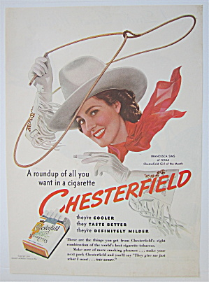 1940 Chesterfield Cigarettes With Chesterfield Girl (Image1)