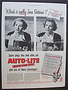 1949  Auto Lite Spark Plugs with Joan Fontaine (Image1)